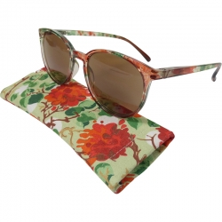 Reading sunglasses floral pattern transparent