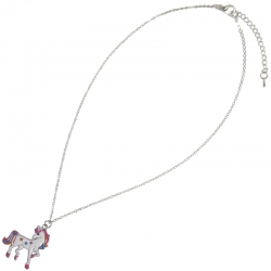 Children necklace rhodium unicorn