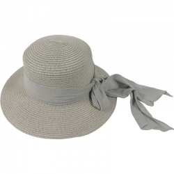 Hat linnen bow 57cm grey
