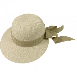 Hat off-center linnen belt 57cm beige/white