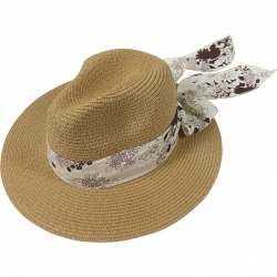 Hat floral belt 57cm beige/navy