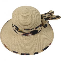 Hat animal print belt 57cm beige