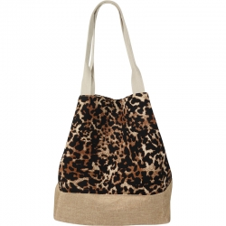 Beach Bag Animal Print Brown