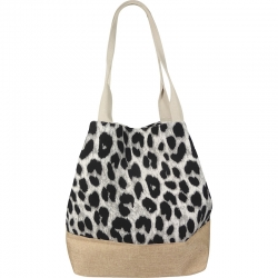 Beach Bag Animal Print Grey