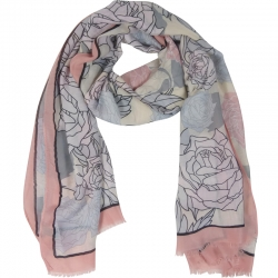 Scarf Roses 85x180cm Pink