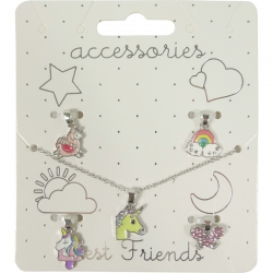 Children necklace assorted charms rhodium