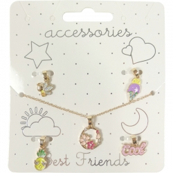 Children necklace assorted charms gold
