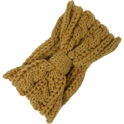 Headband Knitted Cable Pattern Ochre