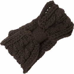 Headband Knitted Cable Pattern Dark Brown