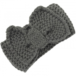 Children's Headband Knitted Bow Grey