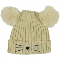 Children's Hat Pompoms Light Beige