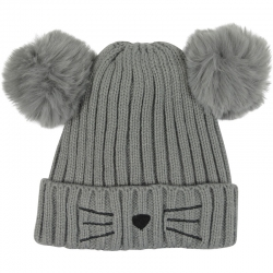 Children's Hat Pompons Grey