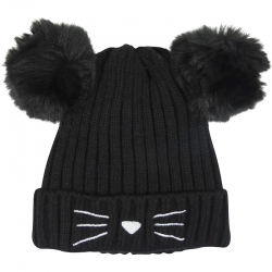 Children's Hat Pompons Black