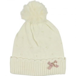 Children's Hat Pompom Bow White