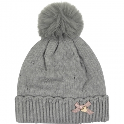 Children's Hat Pompom Bow Grey