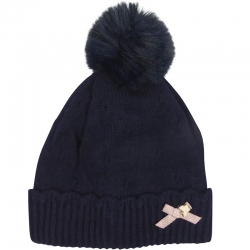 Children's Hat Pompom Bow Navy