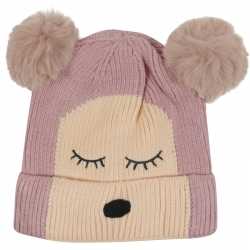 Children's Hat Two-Tone Bear Pink