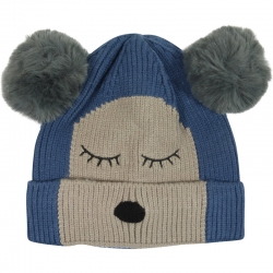 Children's Hat Two-Tone Bear Blue