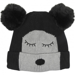 Children's Hat Two-Tone Bear Black