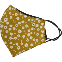 Mask Ochre with White Flowers