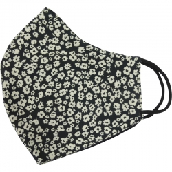 Mask Black with White Flowers