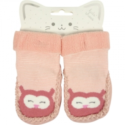 Baby Shoes Owl Light Pink