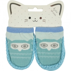 Baby Shoes Owl Light Blue