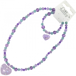 Kinder Collier/Armband Paars Glitter Hart