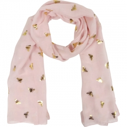 Scarf gold bees 70x180cm pink