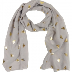 Scarf gold bees 70x180cm taupe