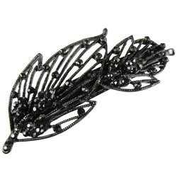 Automatic clip 9cm anthracite leaves