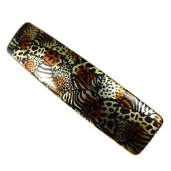 Automatic clip 8cm arched animal print
